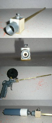 views of the actual prototype, from top to bottom:<br /><br />1)rear view of breech and barrel assembly<br />2)view down the barrel, you can make out the end of the bolt sticking out - note that it only has to enter the barrel a tiny amount to jam the projectile in place.<br />3)breech threaded to a blowgun for low pressure testing<br />4)High pressure chamber for 300 psi+ testing.